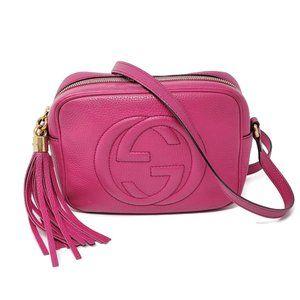Auth Gucci Disco Camera Fuchsia Crossbody Bag